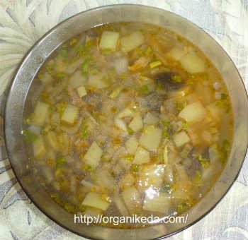 Грибной суп из сушеных белых грибов-рецепт_в тарелке