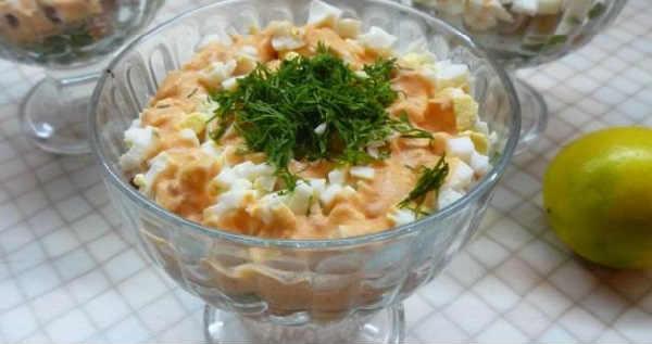 _салат с печенью минтая и фасолью