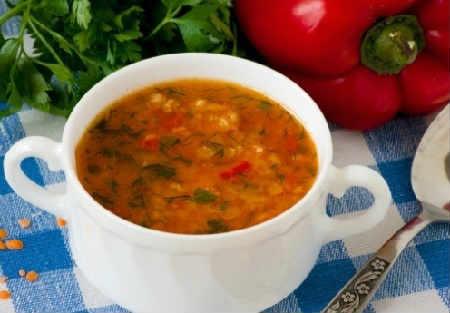 Говяжий суп с чечевицей