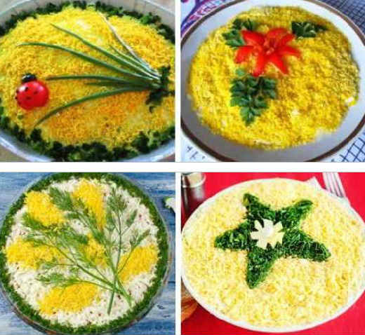 Salat mimoza s krabovymi palochkami3