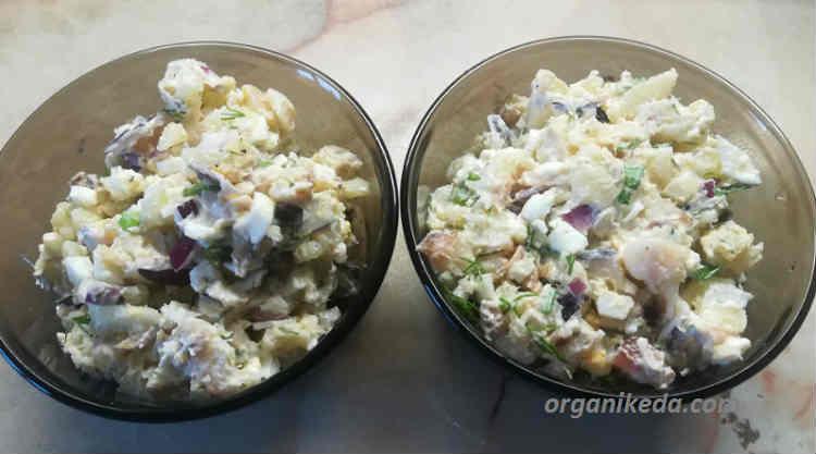 Salat iz morskogo okunya goryachego kopcheniya s kartofelem8