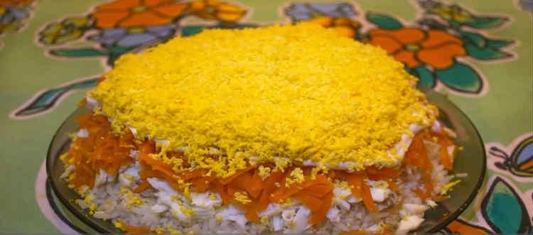 Salat Mimoza s rybnymi konservami1