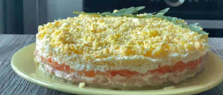 Salat Mimoza s rybnymi konservami10