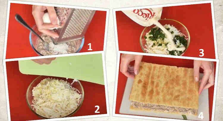 Salat Mimoza s rybnymi konservami13-0