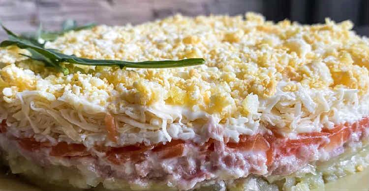 Salat Mimoza s rybnymi konservami2