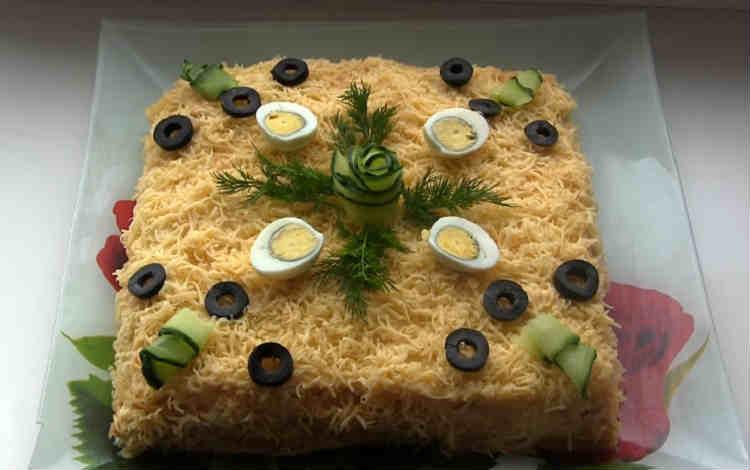 Salat Mimoza s rybnymi konservami35