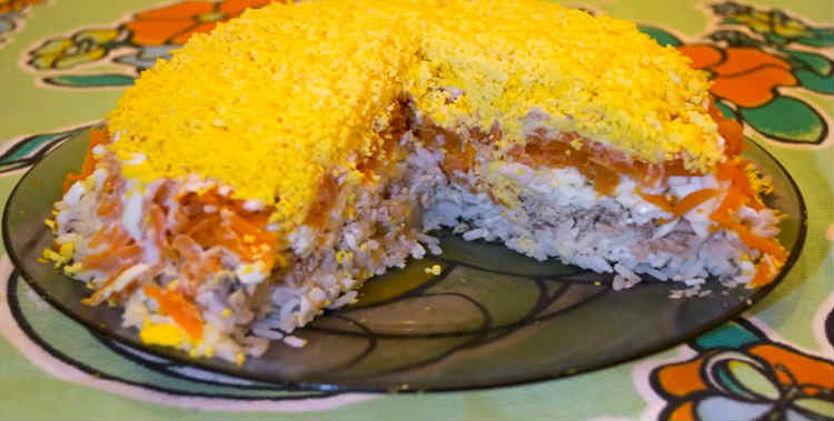 Salat Mimoza s rybnymi konservami8