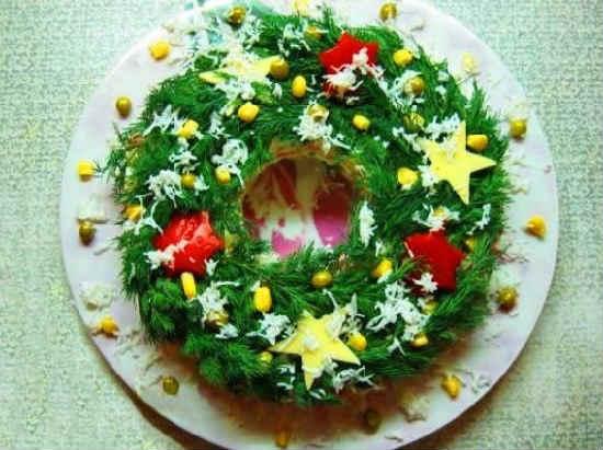 Салат «Новогодний венок» — 6 рецептов