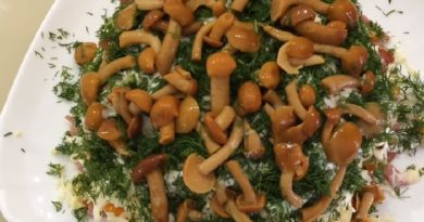 Салат с маринованными опятами — 11 очень вкусных рецептов